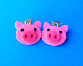 Piggy Earrings with Gold Plated Hooks, 3D Printed Hand Painted with Acrylic Paints