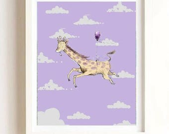 Nursery Children's Art - Boy's Room Print - Girl's Room Print - Print Giraffe Balloon - Clouds