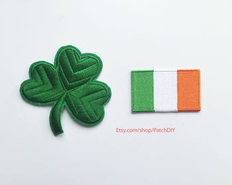 Set of Patches: 3 leaf CLOVER + Irish FLAG embroidered Iron on appliques shamrock lucky charm Saint Patrick day green DIY custom costume fun