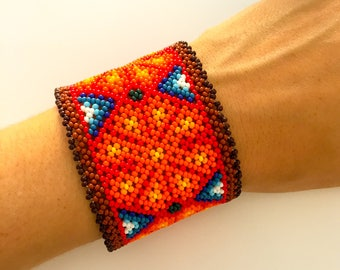 Mexican Huichol baded bracelet