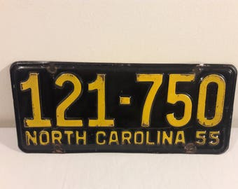 1955 North Carolina License Plate
