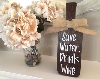 Wood Wine Bottle Sign