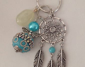 Gemstone Keychain Prehnite, Angel, Dream catcher, Chakra