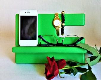 Oak Wood Charging Station Kiwi Color Phone Charging Station Valet Glasses Holder Nightstand Organization iPhone holder Wood Phone Dock