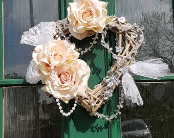Shabby chic heart, wreath, flowers, decoration,lace, sparkle, roses, flower heart, beads, decor