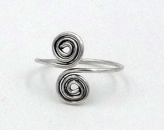 Foot ring / toe spiral snake silver toe ring