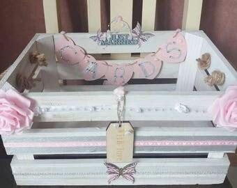 Hand Decorated, Wedding Card Box, Rustic Wedding, Vintage Wedding, White Wedding Decorations, Wooden Wedding Card Crate, White Wooden Crate