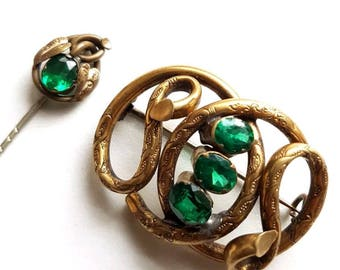 Antique Victorian Pinchbeck Knot Brooch And Lapel Pin Set