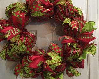 Christmas Deco Mesh Wreath, Holiday, Decomesh, Red and Green, Wreath, Christmas, Sparkle