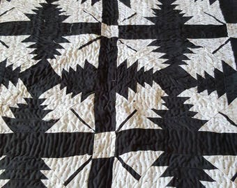 Hand made black and white patchwork quilt