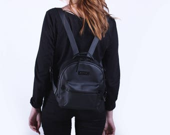 Rucksack Vegan Leather,Small backpack for women,Mini Black Backpack,Mini vegan Black Backpack,Mini backpack,Backpack purse leather,