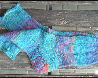 "Handknitted socks size women size UK 3-4 / US 6-6,5   ""Funny with glitter"""