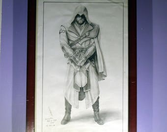 Original Pencil Drawing From Assassin's Creed II (Ezio) Game