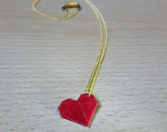 Red heart Valentine paper origami necklace