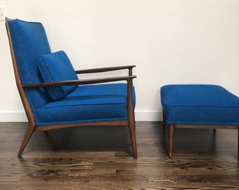 Mid Century Vintage Paul McCobb Lounge Chair and Ottoman