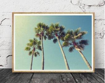 Les palmiers Tropical, impression murale Art déco, en téléchargement affiche grand format imprimable, photographie couleur, numérique,