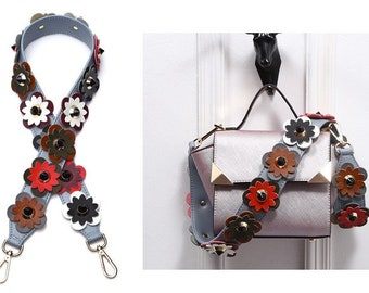 blue Leather Stud Bag Strap brown strap Colorful Leather flower Strap Removable Strap for Bag and Purses Interchangeable Strap