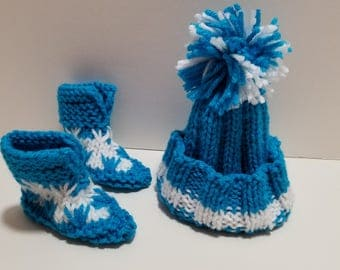 Infant Bright Blue and White Hat and Booties Set