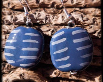 Kazuri Bead, African earrings -  blue navyceramic / pottery beads, gold fittings hand made & painted in Kenya, fair trade, ethical made