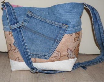 Recycled denim fabric Brown patterned tote bag floral original strap