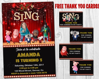 Sing invitation printable Sing birthday invitation Sing movie party favor tags First birthday outfit Sing thank you cards Party supplies