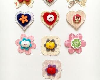 Paper embellishments, flower embellishments, heart embellishments, card making embellishments, scrapbooking embellishments