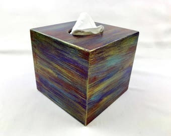 Tissue box cover, kleenex box cover, wooden tissue box holder, home decor, metallic tissue box