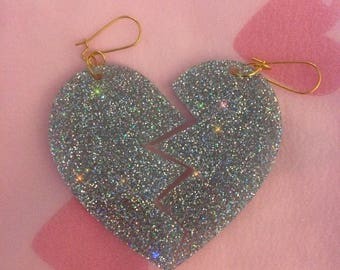 Large Kitsch Kawaii Deadly Valentine Acrylic Perspex Oversized Holographic Glitter Broken Hearts Dangle Earrings