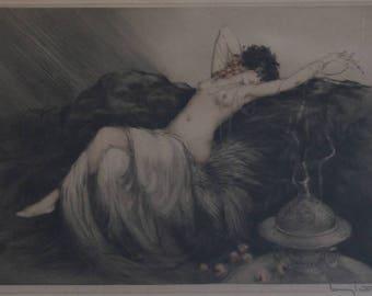 Original etching by LOUIS ICART entitled Smoke