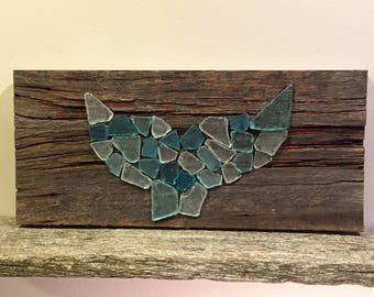 Sea Glass Whale's Tail on Reclaimed Barnwood