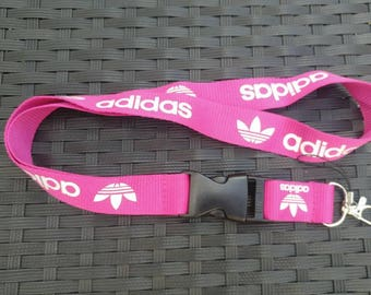 ADIDAS Pink Lanyard with White Print High Quality