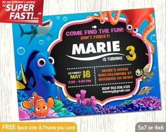 FINDING DORY INVITATION, Finding Dory Birthday Invitation, Finding Dory Party Invite, Finding Dory Invite, Finding Dory Thank You Card, v1u