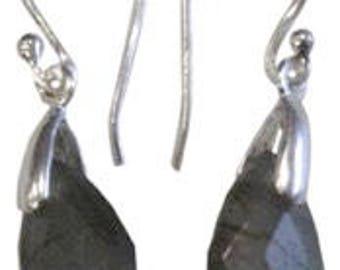 Silver drop earrings faceted - Labradorite