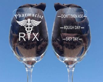 Pharmacist 21oz Wine Glass, Etched Wine Glass, Personal gifts for a Pharmacist, Add a Name to the Front, Retirement Gifts