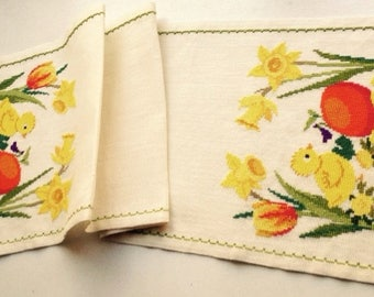 Vintage Swedish Embroidered Runner with spring motif
