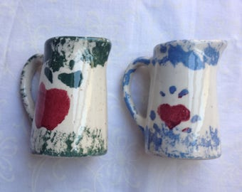 Miniature Spongeware Ceramic Pitchers
