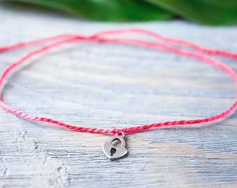 Red String of Fate Red Thread Heart Lock Charm Red String Bracelet Love Charm Wish Bracelet Kabbalah Bracelet Silver Red Protection Amulet