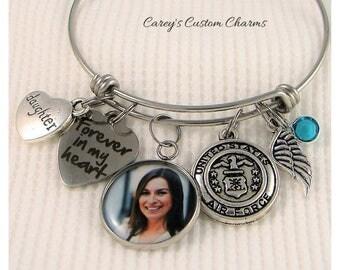 United States Air Force Memorial Photo Charm Bangle Bracelet, Swarovski Birthstone, Sympathy Jewelry Gift, Military Veteran, Airman, Honor