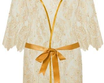 Gold lace plus-size kimono robe gown