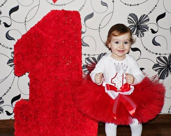 Red Baby Girl 1st Birthday Tutu Outfit,Red 1st Birthday Outfit, One Year Old Girl Birthday Outfit, 1 Year Old 1st Birthday Girl, Red tutu