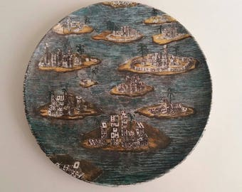 Vintage  1955 Authentic Fornasetti Plate Citta di Carta 26 cm Florence Italy