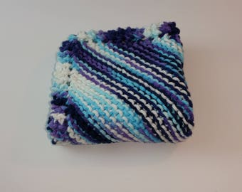 Knitted dishcloth - dark blue