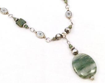 Silver and Jade Green Necklace