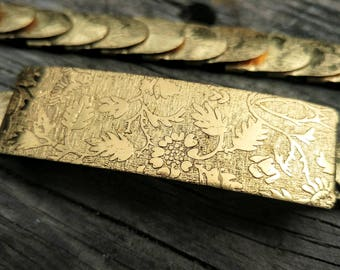 Vintage 80s Chinoiserie Gold Belt // Floral Embossed Belt Sz Small-Large