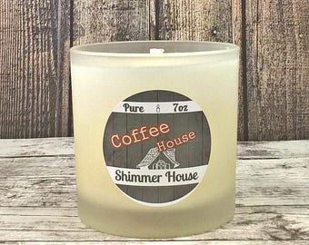 Coffee Candle | 100% Pure Soy Wax Candle | 7oz | Hand Poured Jar Candle | Color Free Candle | Gifts for Her | Housewarming | Shimmer House