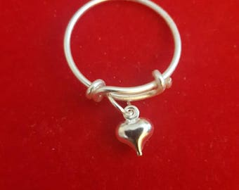 Heart Adjustable Charm Ring