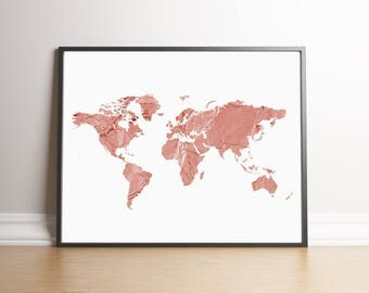 Rose gold map etsy rose gold map large world map art map printable poster world map outline gumiabroncs Image collections