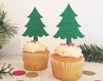 Christmas Tree Toppers, Holiday Cupcake Toppers, Christmas Glitter Cupcake Toppers, Holiday Party Decor, Christmas Tree Decor, Green Glitter