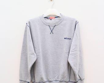 Vintage KAEPA Sportswear Small Logo Gray Pullover Sweater Sweatshirt Size L