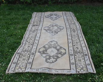 Vintage Turkish Rug Free Shipping Pale Colo Organic Oushak Rug Tribal Rug 4.5 x 9.3 feet Decorative Boho Rug Rustic Rug Aztec Rug Code331